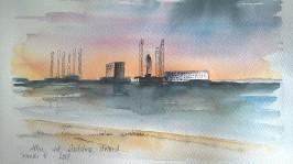 Aften ved Sædding strand (24x34)